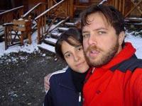 Com Juliana, mulher e musa inspiradora, na neve patagônica